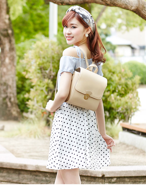 Bags backpack shoulder bag 3-WAY satchel-style flap fashionable backrest  handbags mini storage casual feminine girly Princess cute black ivory camel  pink ... 4e87535638a75