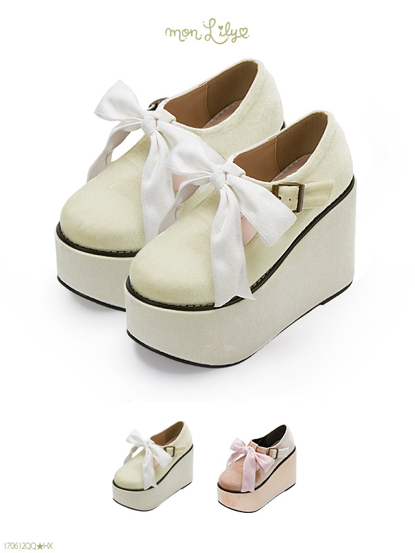 Shoes pumps below ribbon thickness bottom velour color cute daughter  walkable toe 11 cm wedges fall ...