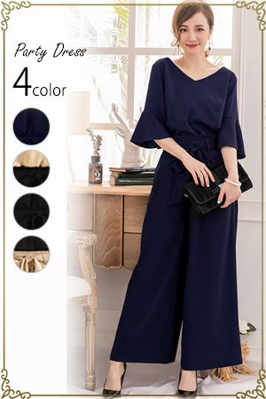 【結婚式や披露宴で活躍】大きいサイズもご用意しております。ケープ型ブラウス ワイド パンツドレス