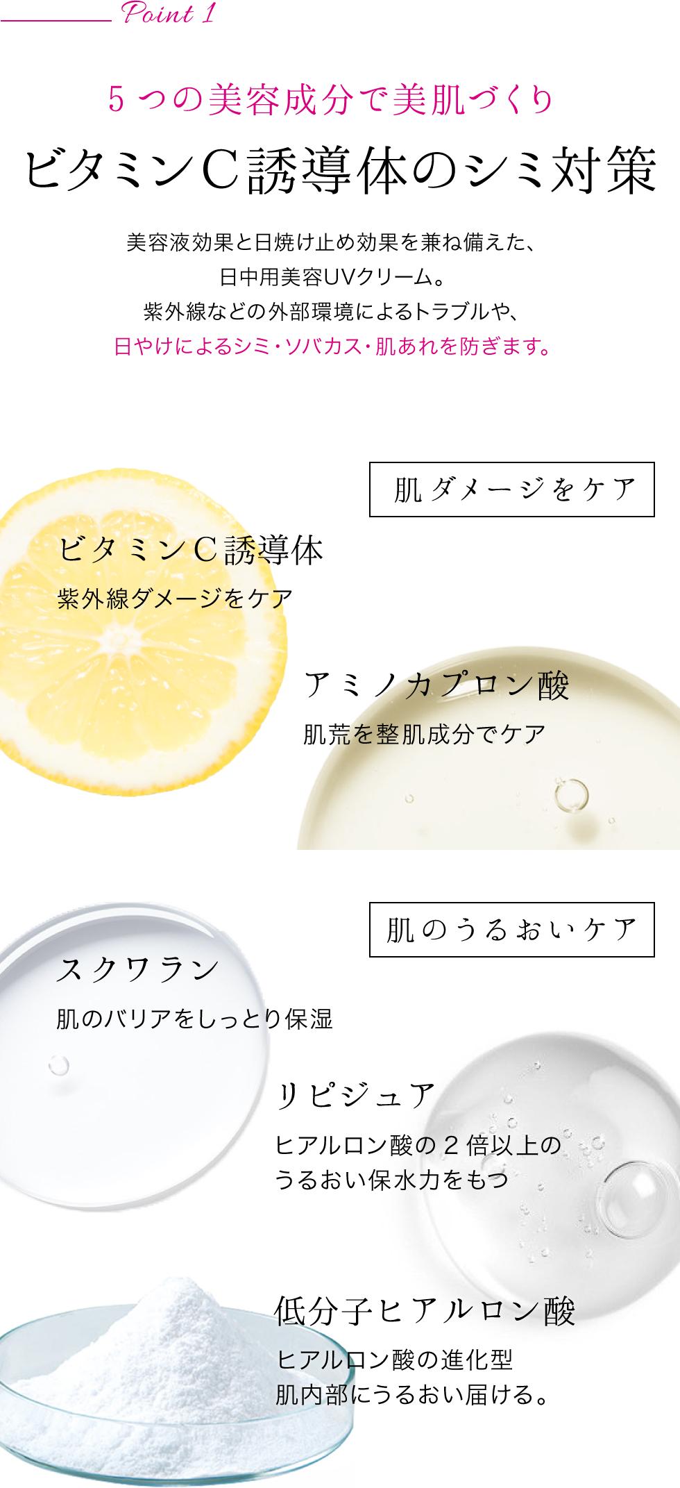 ポイント1・ビタミンC誘導体など美容成分5種類