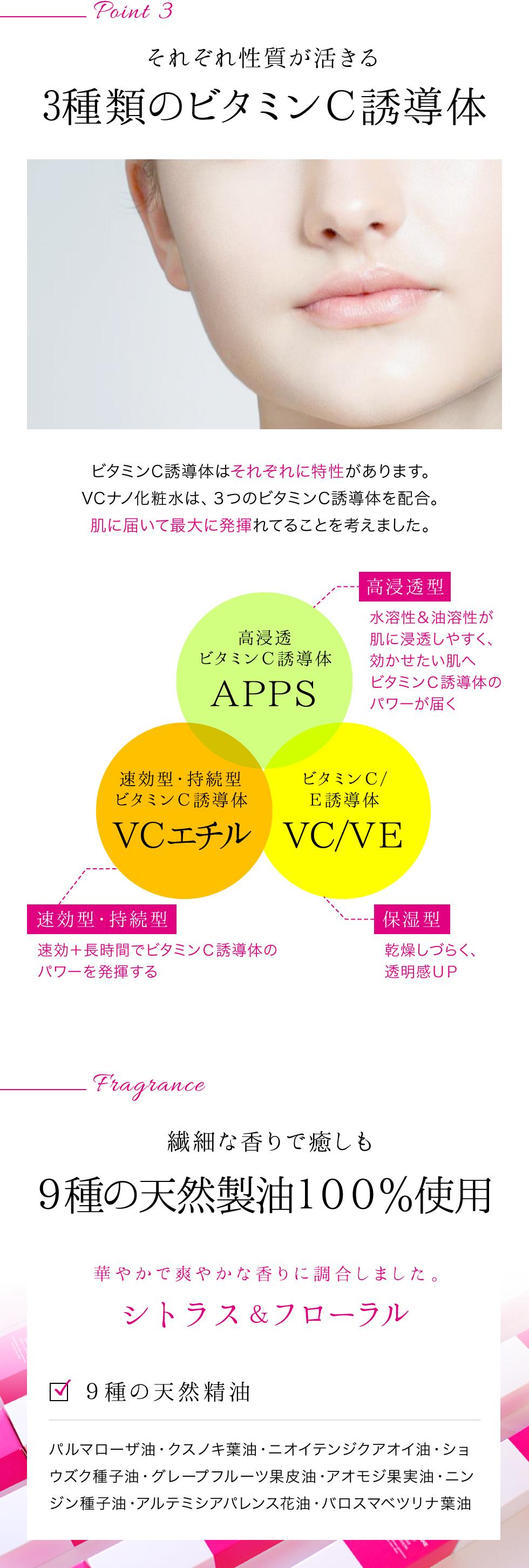 3種類のビタミンC誘導体・9種類の天然精油