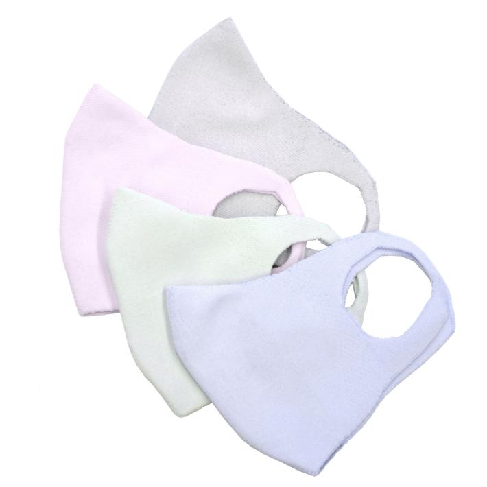 ライトグレー、ラベンダー・ピンク、ミント、水色のカラーマスク。