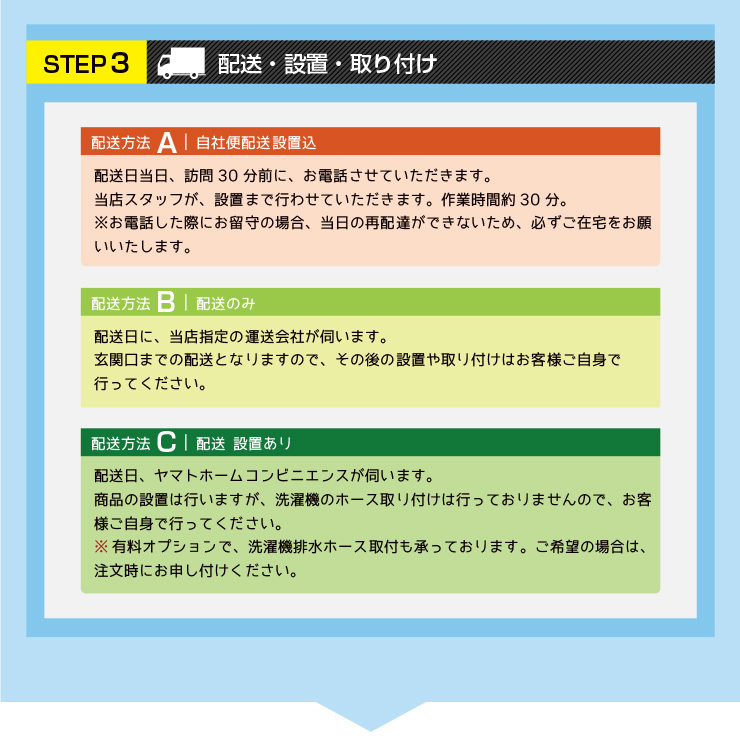 STEP3 配送・設置・取り付け