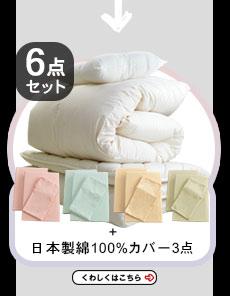 【6点セット】エクセルゴールドラベル付ヌードタイプ羽毛と・選べる枕・軽量3層敷布団と日本製布団カバー3点