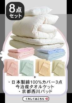 【8点セット】エクセルゴールドラベル付ヌードタイプ3点セット布団に日本製カバー3点セットとタオルケットと敷パッド