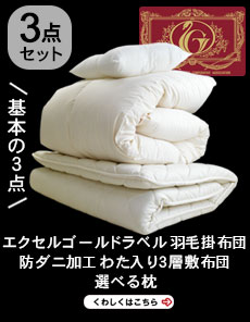 【3点セット】エクセルゴールドラベル付ヌードタイプ羽毛と・選べる枕・軽量3層敷布団