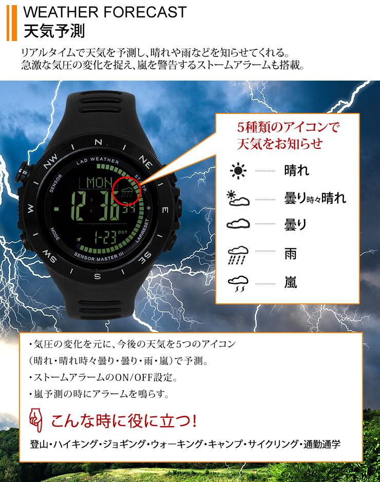 スイス製センサー 天気予報 天気予測機能 ストームアラーム