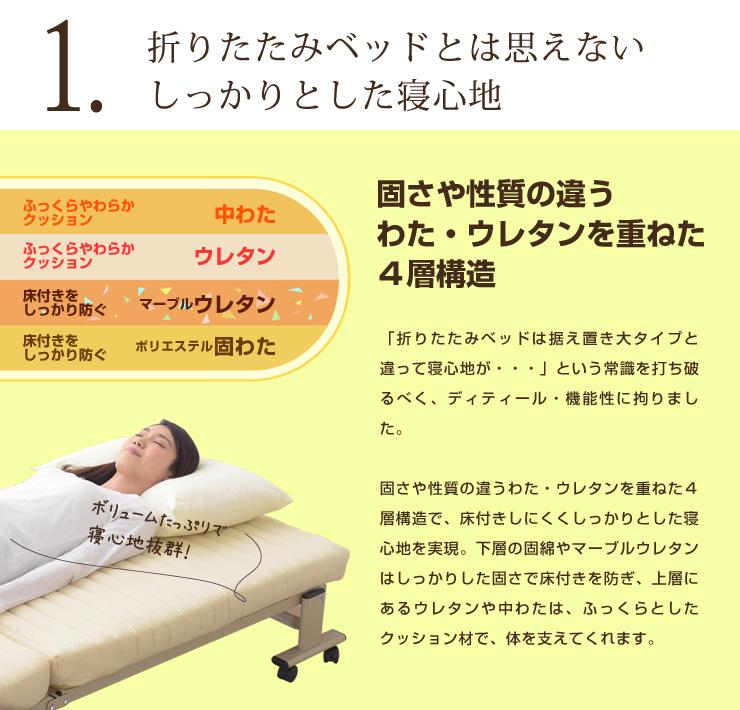しっかりとした寝心地の折りたたみベッド