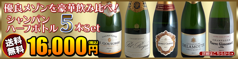優良メゾンを豪華飲み比べ!シャンパン ハーフボトル5本セット