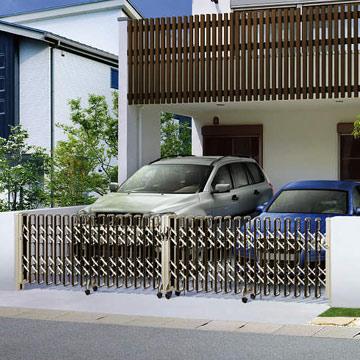 伸縮ゲート レイオス防犯&住まいの意匠となる伸縮ゲート。駐車スペースの広さや環境に合せてえらべるラインアップ。様々な間口、敷地条件に対応するパンタ式の伸縮ゲートです。性能や機能にそれぞれ特長を持たせたえらびやすい6種類のバリエーションをご用意しました。