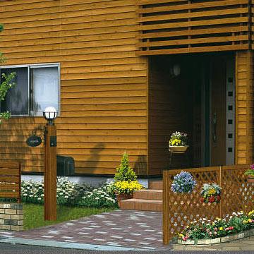 準備中 ガーデン倶楽部 シリーズエントランスにナチュラルなやさしさを添える木目調の機能門柱。エントランスにやさしさを添える木目調の機能門柱です。キャラメルチークやショコラウォールナットのやさしいカラーが、住まいのやすらぎを演出します。