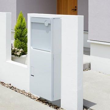 ナスタ|宅配ボックス組合せ 上部|壁付けポスト Qual クオール下部|宅配ボックス ビッグ 前入前出