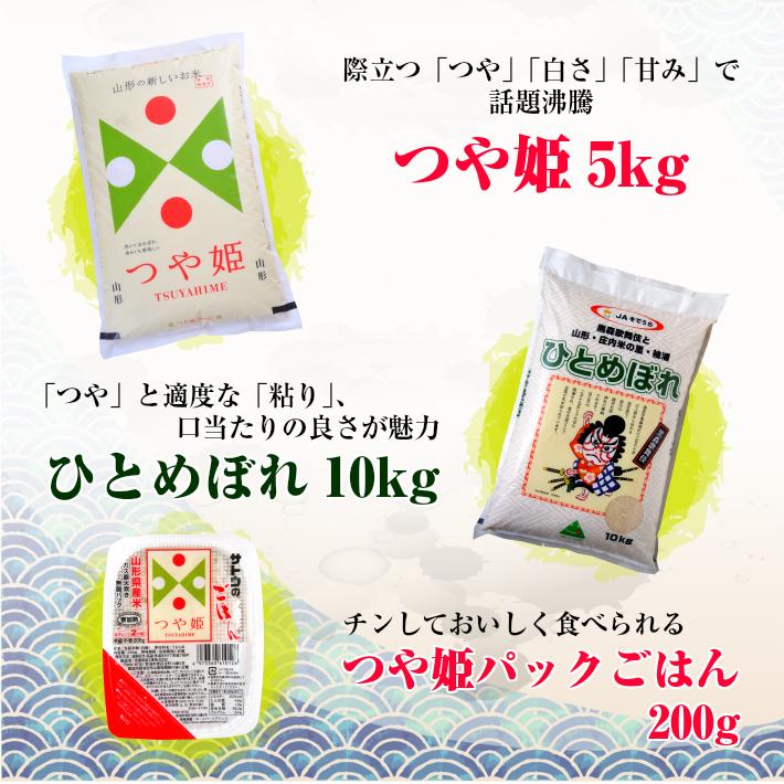 令和元年産米 山形県産 つや姫 5kg ひとめぼれ 10kg パックごはん200g  15.2kg