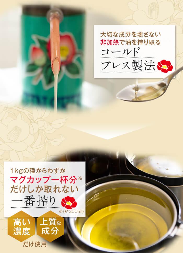 大切な成分を壊さない非加熱で油を搾り取るコールドプレス製法 1kgの種からわずかマグカップ一杯分だけしか取れない一番搾り 高い濃度 上質な成分だけ使用