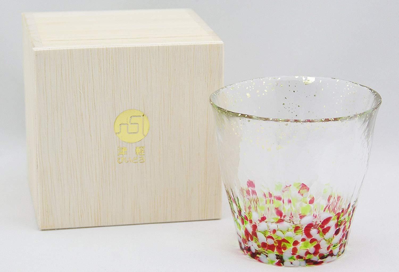 津軽びいどろ 氷華 金彩ロックグラス 春 300ml 木箱入り ギフトボックス アデリアグラス