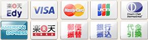 クレジットカード (VISA、Master、JCB、Diners、Amex)、銀行振込、代金引換、楽天バンク決済