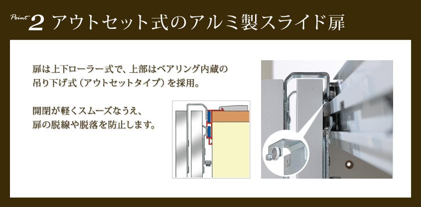 Point2:アウトセット式のアルミ製スライド扉