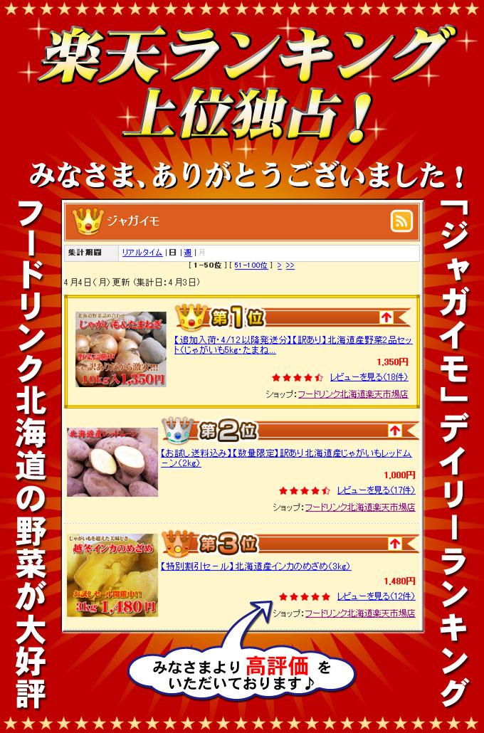 楽天ランキング上位独占! フードリンク北海道の野菜が大好評 「ジャガイモ」デイリーランキング 1位・2位・3位独占