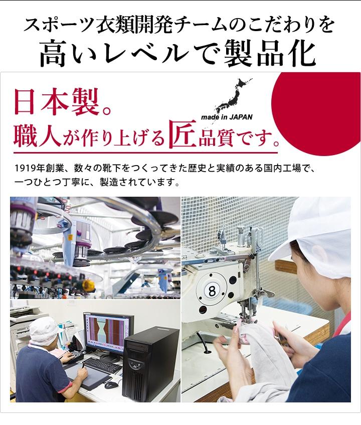 スポーツ衣料開発チームのこだわりを高いレベルで製品化。日本製、職人が作り上げる匠品質です。