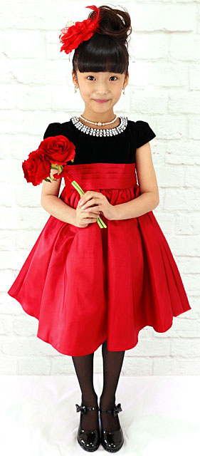 ラウンドビジューレッドスカートドレス