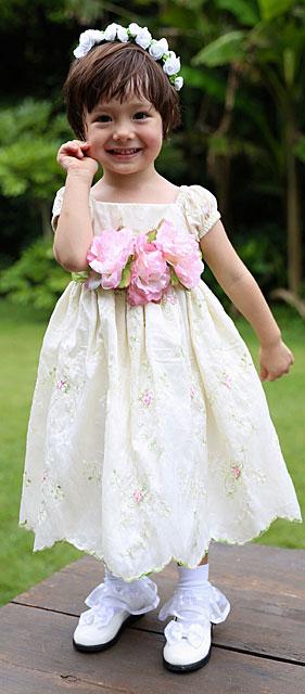 フローラルパフスリーブベビードレス