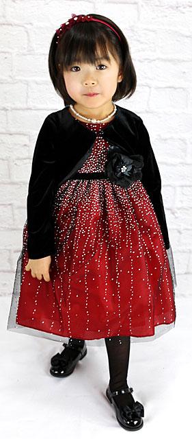 バーガンディシルバードットブラックコサージュドレス