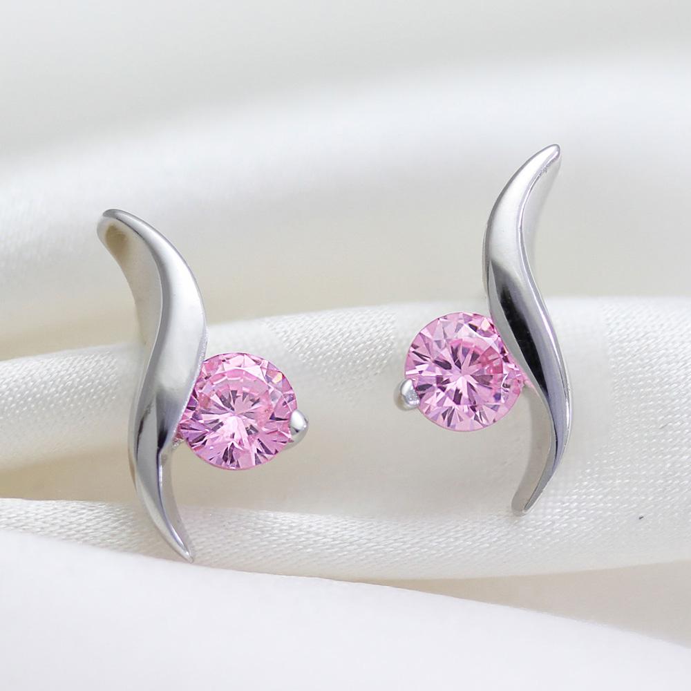 ピアニッシモ デザイナーズ 一粒ピンク ピアス  プラチナコーティング ニューヨーク限定 日本未発売 ジュエリー