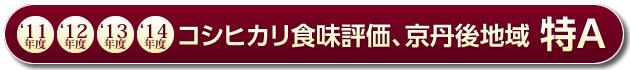 コシヒカリ食味評価 京丹後地域特A