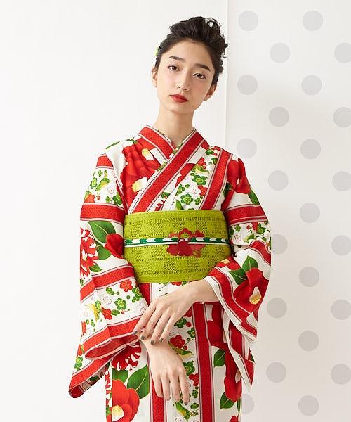 浴衣「うぐいす長者」<br>浴衣 単品 ふりふオリジナル 日本製 ゆかた レディース 女性 総柄 和柄 和風 花柄 椿 梅 レトロ モダン かわいい きれい お洒落 華やか シンプル 大人 しっとり 大正ロマン ふりふ 20代 30代 40代 大人 粋
