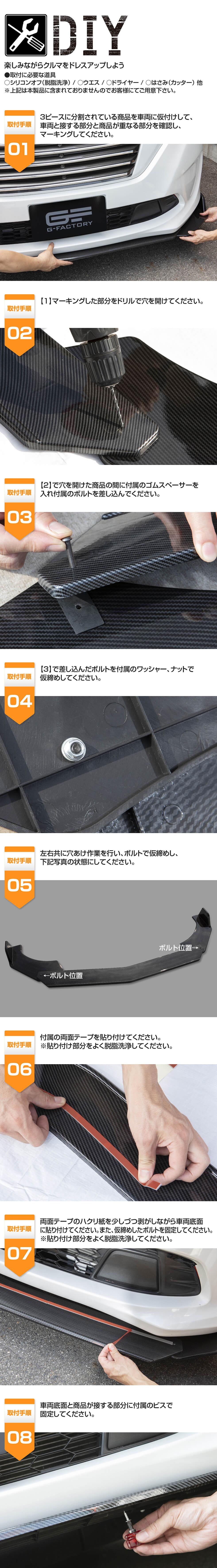 汎用 スポイラー アンダーカナード カーボン長 組立式 3分割 ABS製 エアロ フロント スポイラー カナード フィン アンダーフラップ リップ アンダーパネル 加工用 付け足し ドレスアップ GTマシン風