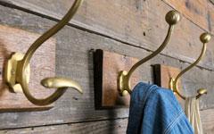 真鍮製の壁掛けフック