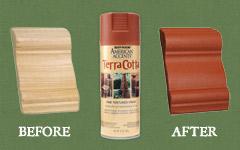 テラコッタのような赤茶色のザラザラした風合いに仕上がるスプレー塗料。