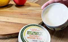 木製品用ワックス。100%天然成分でまな板にも使用可能です。