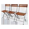 木×鉄の三人掛け折りたたみ椅子。