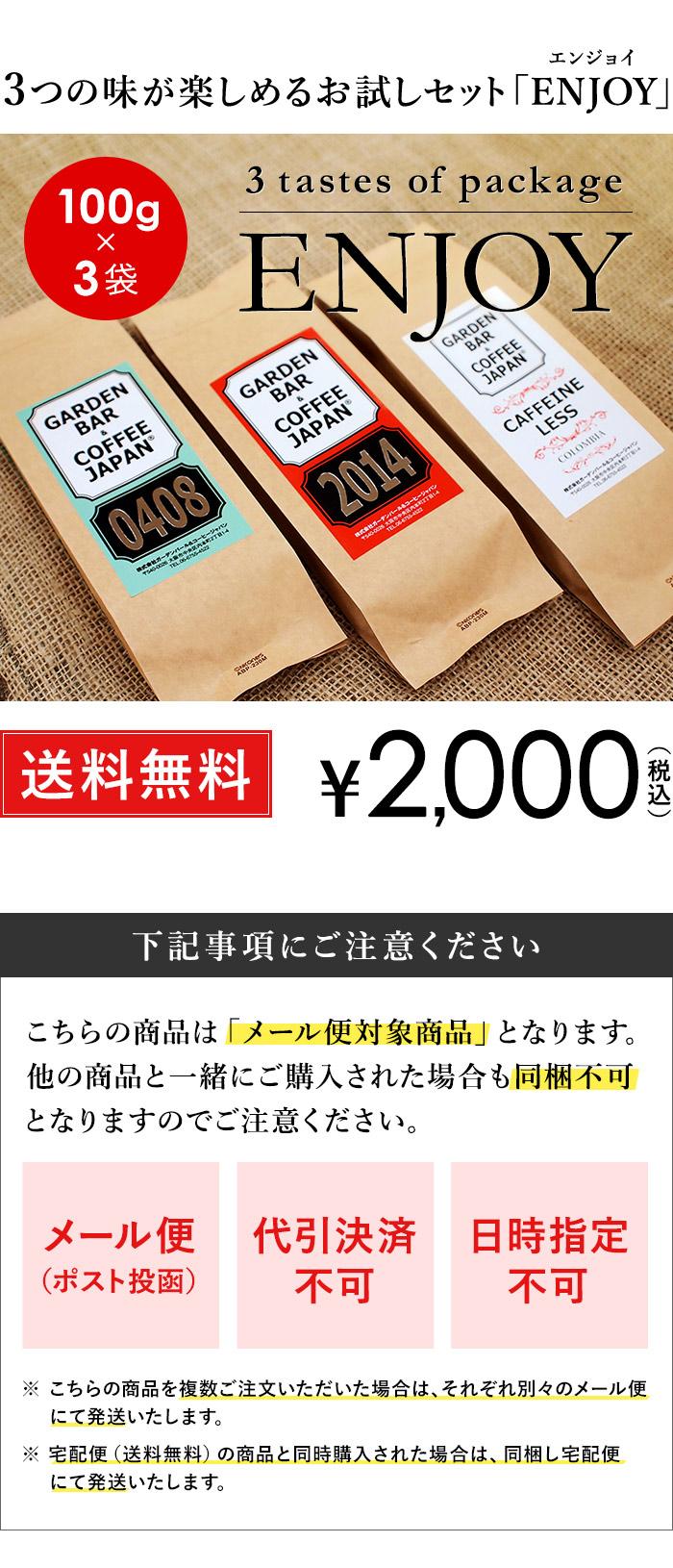 3つの味が楽しめるお試しセット「ENJOYエンジョイ」100g×3袋・送料無料・2000円(税込)