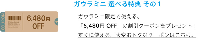 選べる特典 6480円割引クーポン