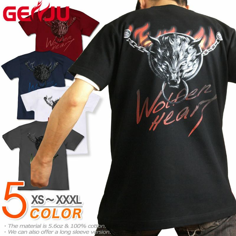 アクセサリーのような鎖と背面の狼がハード!アメカジ/ストリート系Tシャツ