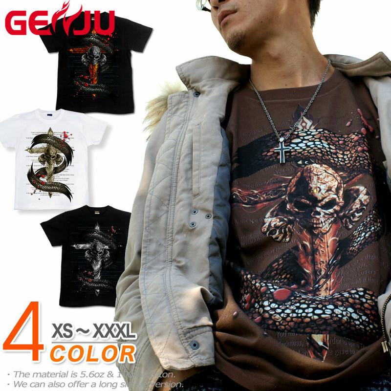 メタル ロック バイカー系。十字架、蛇とスカル柄がハードでクールなTシャツ