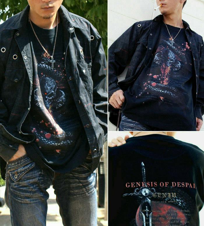 メタル ロック バイカー系のクールな蛇とスカル柄Tシャツ