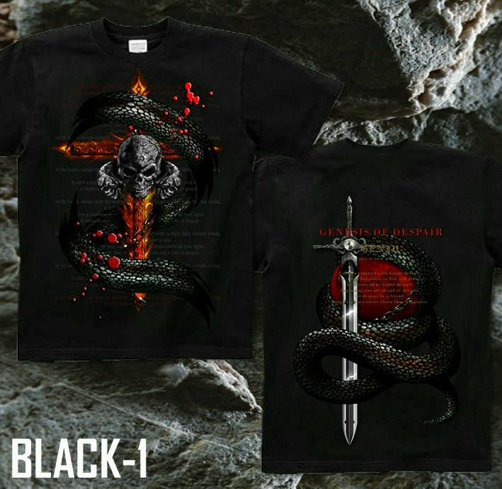 メタル ロック バイカー系のクールな蛇とスカル柄Tシャツ 黒
