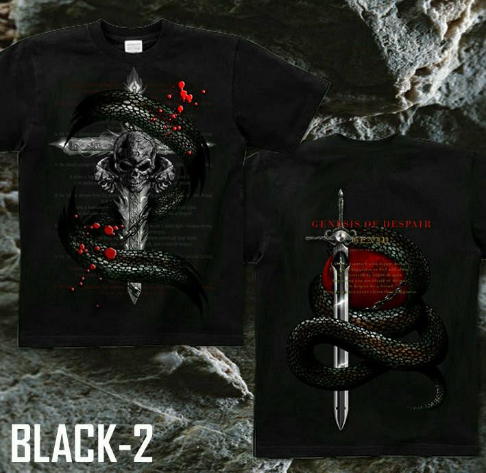 メタル ロック バイカー系のクールな蛇とスカル柄Tシャツ ブラック