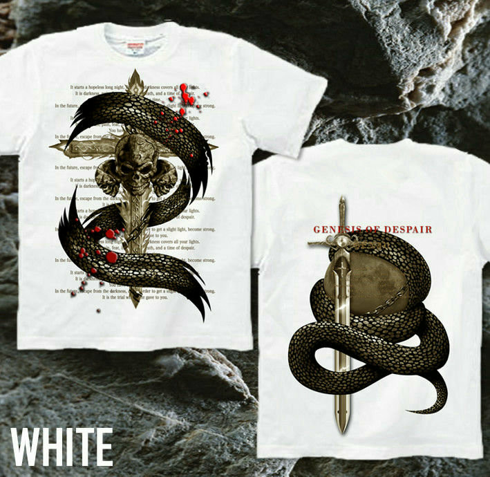 メタル ロック バイカー系のクールな蛇とスカル柄Tシャツ ホワイト