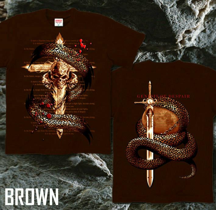 メタル ロック バイカー系のクールな蛇とスカル柄Tシャツ ブラウン
