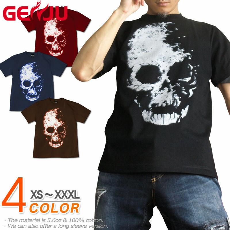 ドデカいスカル柄プリントが魅力的なロック・バイカー系Tシャツ