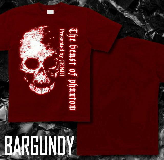 ドデカいスカルプリントが魅力的なTシャツ バーガンディ