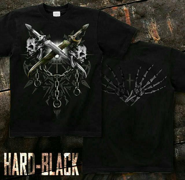 メタル ロック バイカー系のスカル柄Tシャツ。背面は十字架 ブラック
