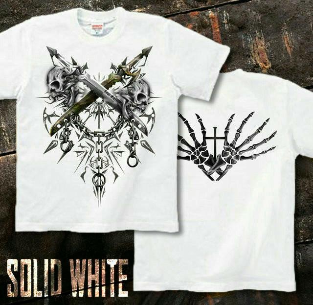 メタル ロック バイカー系のスカル柄Tシャツ。背面は十字架 ホワイト