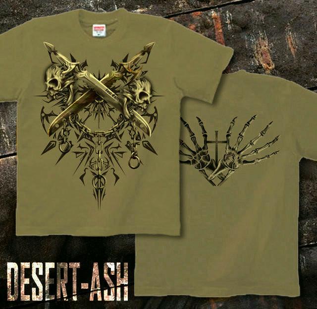 メタル ロック バイカー系のスカル柄Tシャツ。背面は十字架 サンドカーキ