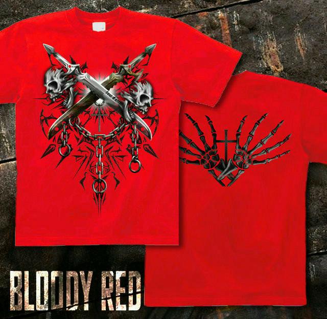 メタル ロック バイカー系のスカル柄Tシャツ。背面は十字架 レッド
