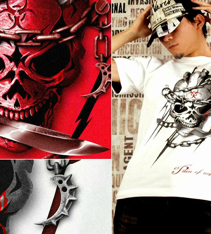 ロック メタル バイカー系のスカル柄Tシャツ